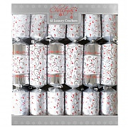 "Luxury Silver & Red 14"" Christmas Crackers Pack of 12"