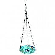 Decorative Blue Mosaic Hanging Bird Bath