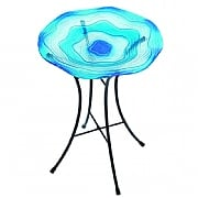 Decorative Blue Glass Bird Bath