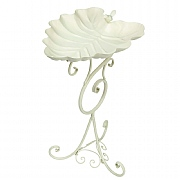 Decorative Leaf Bird Bath Painted Cream Finish