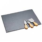 Master Class Artesa Slate Cheese Platter & Knife Set