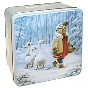 Embossed Young Girl & Geese Biscuit Tin 300g