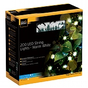 Cole & Bright Dual Powered Solar 200 LED String Lights - Warm White
