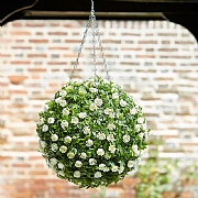 Smart Garden White Rose Artificial Topiary Ball 30cm