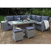 Kettler Palma LH Corner Casual Dining Set White Wash (Glass Top)