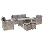 Kettler Palma Lounge Casual Dining Set White Wash (Glass Top)