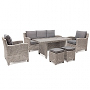 Kettler Palma Sofa Casual Dining Set White Wash (Glass Top)