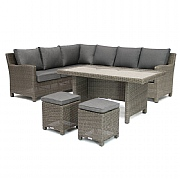 Kettler Palma RH Corner Casual Dining Set Rattan (Glass Top)