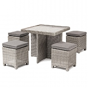 Kettler Palma Cube Casual Dining Set White Wash (Glass Top)