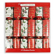 Holly Script 14'' Christmas Crackers Pack of 12