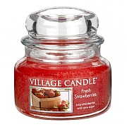 Village Candle Fresh Strawberries Small 11oz Jar Candle