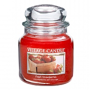 Village Candle Fresh Strawberries Medium 16oz Jar Candle