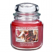 Village Candle Raspberry Rose Tea Medium 16oz Jar Candle