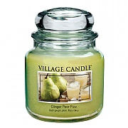 Village Candle Ginger Pear Fizz Medium 16oz Jar Candle