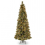 6.5ft Pre-Lit Glittery Bristle Pine Artificial Christmas Tree