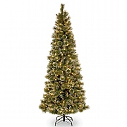 7.5ft Pre-Lit Glittery Bristle Pine Artificial Christmas Tree