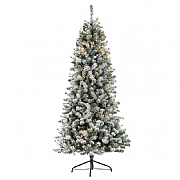 7.5ft Pre-Lit Slim Snowy Cone Pine Artificial Christmas Tree