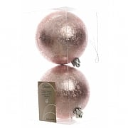 Frosted Blush Pink Shatterproof Baubles 10cm - 2 Pack