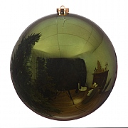 Decoris Pine Green Shiny Shatterproof Bauble - 14cm