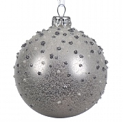 Silver Glass Frosted Bauble With Glitter Dots - 8cm