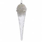 Clear Glass Icicle With Frosted Pearls - 24cm