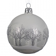 Winter White Glass Bauble With Two Tone Tree Line - 8cm