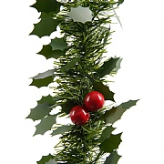 Decoris Green Tinsel Garland with Leaves & Berries 207cm
