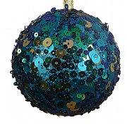 Petrol Blue Sequin Foam Bauble - 8cm