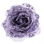 Lilac Glitter Clip On Rose - 14cm