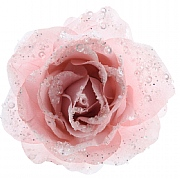 Decoris Blush Pink Clip On Rose - 14cm