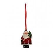 Gisela Graham Ceramic Santa with Tree Hanging Decoration