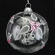 Gisela Graham Clear Ball With Pink Diamante Flowers - 80mm