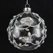 Gisela Graham Clear Glass Ball With Silver Bead Vine