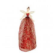 Gisela Graham Elegant Tree Top Fairy with Red & Gold Fabric Dress Large
