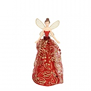 Gisela Graham Elegant Tree Top Fairy with Red & Gold Fabric Dress Small