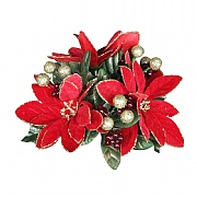 Gisela Graham Poinsetta Leaf & Berry Candle Ring Small