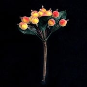 Gisela Graham Beaded Red/Yellow Berry Pick with Leaves