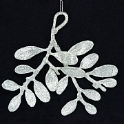 Gisela Graham Pale Silver Glitter Mistletoe Branch Decoration