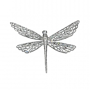 Gisela Graham Silver Glitter Dragonfly on Clip Tree Decoration