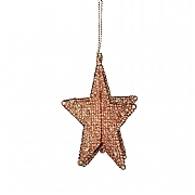 Gisela Graham Copper Glitter 3D 5-Point Star Tree Decoration