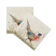 Kate of Kensington Pheasant in Grass Marble Coasters (Set of 2)