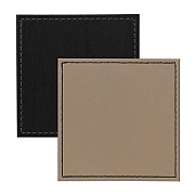 Faux Leather Coasters Black/Taupe Border Stitch 10x10cm