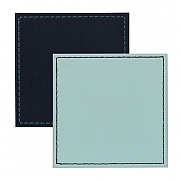 Faux Leather Coasters Navy/Duck Egg Border Stitch 10x10cm