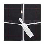 Faux Leather Placemats Black/Red Wide Border Stitch 25x25cm