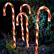 Set of 4 Red Candy Cane Path Lights 62cm