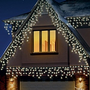 240 Warm White LED Snowing Icicle Lights with Timer