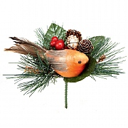 Robin with Pine Cone Pick 15cm