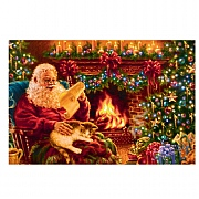 Santa By The Fire Place Pre Lit LED Canvas 60x40cm