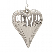 Silver Ribbed Glass Heart 80mm