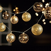 10 Gold LED Battery Operated Bauble String Lights